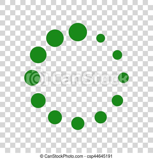Circular loading sign. Dark green icon on transparent background. - csp44645191