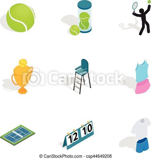 Tennis equipment icons, isometric 3d style - csp44649208
