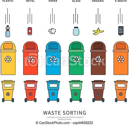 Vektor illustration von sortierung muell beh lter thin for Meine wohnung click design download