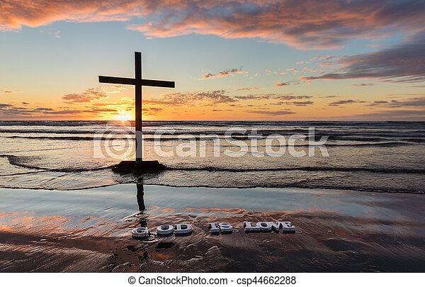 Beach God is Love - csp44662288