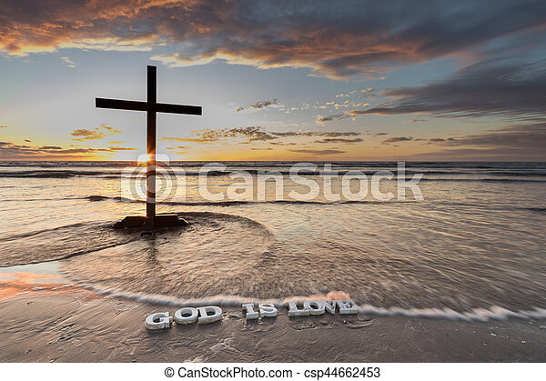 Waves Over God is Love - csp44662453