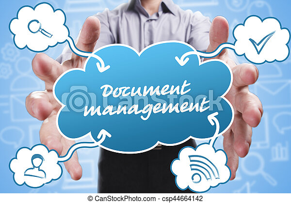 Business, Technology, Internet and marketing. Young businessman thinking about: Document management