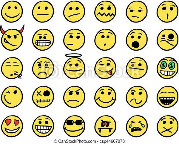 Illustrations vectoris es de set01 couleur smiley jaune - Smiley a dessiner ...