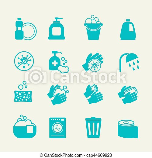 Hygiene and cleaning icons. Washing antiseptic, personal  home care vector signs - csp44669923