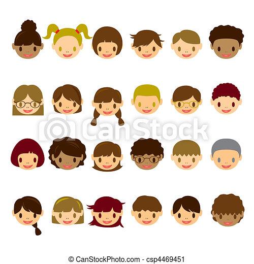 Kids Faces Vector Kids Face Icons Set