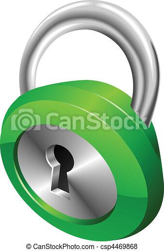 Shiny glossy green security padlock vector illustration  - csp4469868
