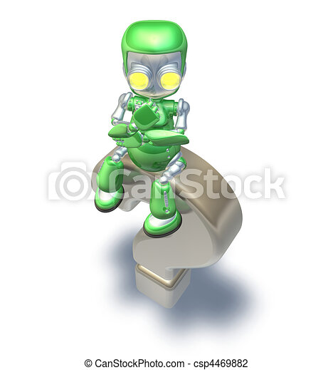 Confused Question Mark Cute Green Metal Robot  - csp4469882