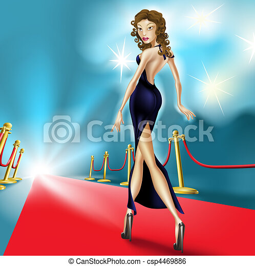 Beautiful elegant woman on the red carpet - csp4469886