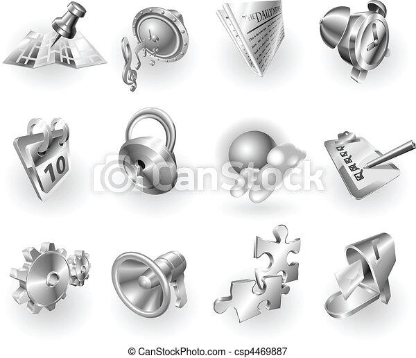 Metal metallic web and application icon set - csp4469887