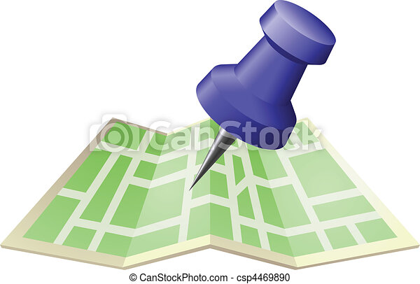 Illustration of a street map with drawing push pin - csp4469890