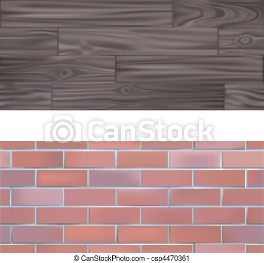 Brick and wood  seamlessly tileable Textures - csp4470361