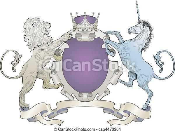 shield coat of arms lion, unicorn, crown - csp4470364
