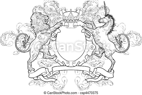 shield coat of arms lion, unicorn, crown - csp4470375