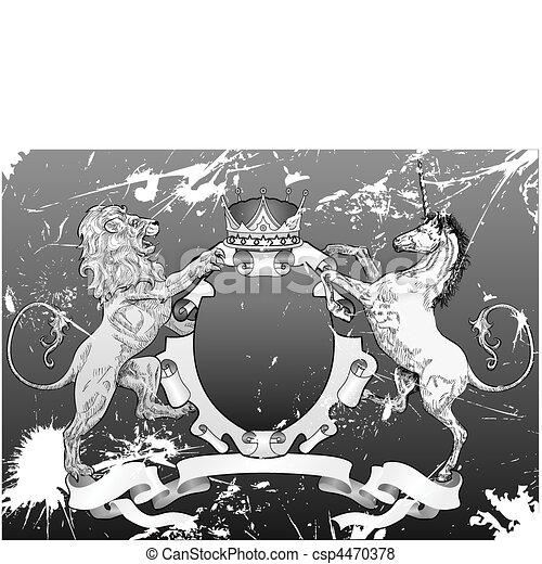 grunge shield coat of arms lion, unicorn, crown - csp4470378