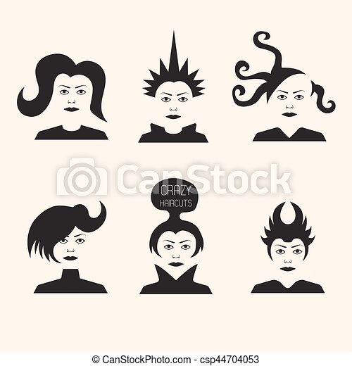 Collection of crazy futuristic haircuts - csp44704053