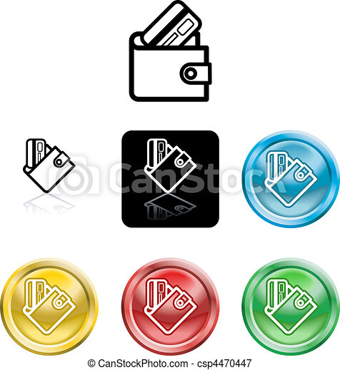 wallet and credit card icon symbol - csp4470447