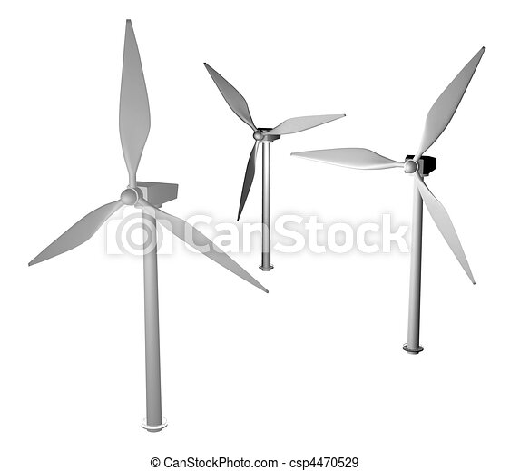 3d greyscale wind turbine - csp4470529