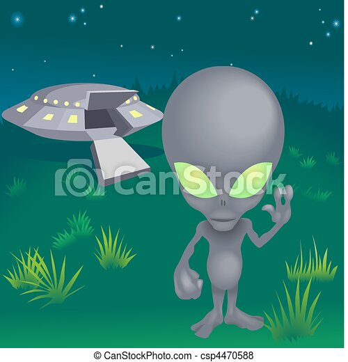 Image of alien and flying saucer - csp4470588