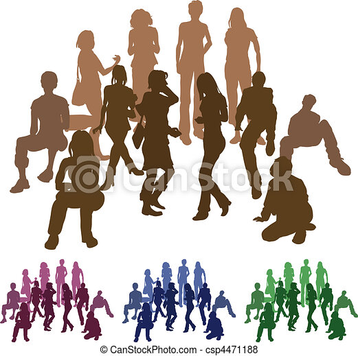 group of friends silhouette illustration - csp4471188