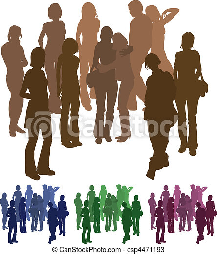 group of friends silhouette illustration - csp4471193