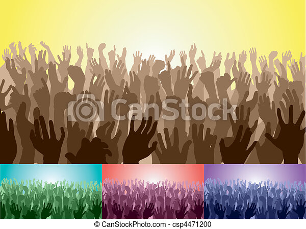 crowd with their hands up - csp4471200