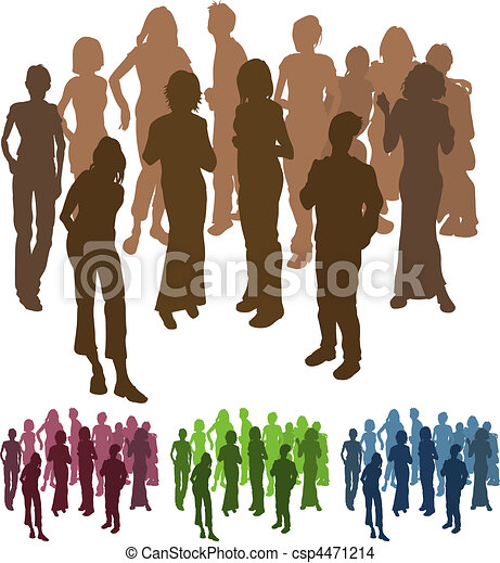 group of friends silhouette illustration - csp4471214
