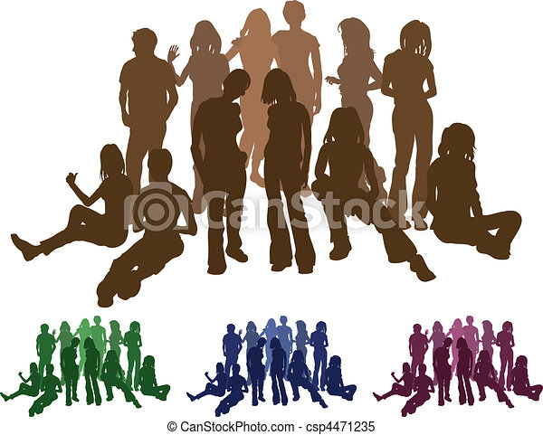 group of friends silhouette illustration - csp4471235