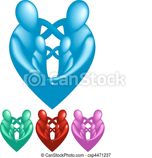A loving protective family forming a heart shape.  - csp4471237