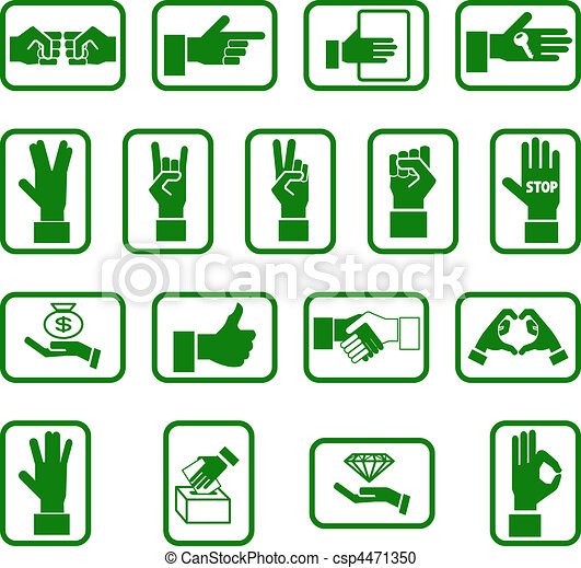 hands icon set - csp4471350