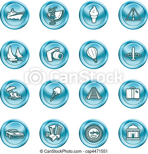 vacations, travel and tourism icons - csp4471551