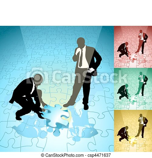 jigsaw  business concept illustration - csp4471637