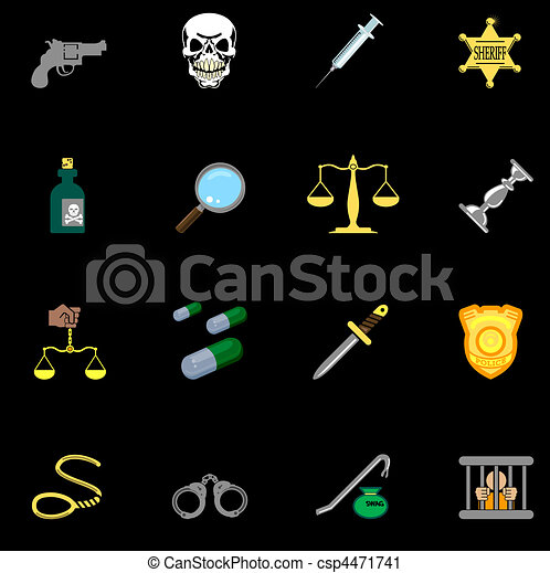 law, order, police and crime icons - csp4471741