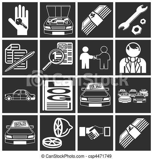 icons related to purchasing a car  - csp4471749