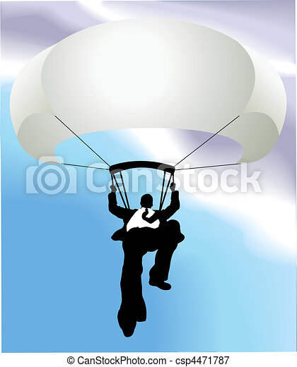 parachute man  business concept illustration - csp4471787