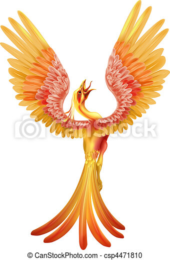 vektor clipart von asche steigend phoenix a phoenix vogel steigend von csp4471810. Black Bedroom Furniture Sets. Home Design Ideas