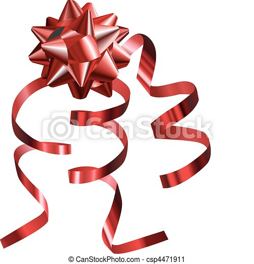 illustration of a pretty shiny red bow with ribbons - csp4471911