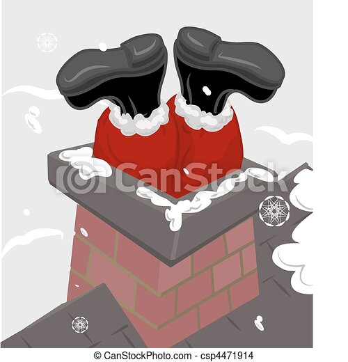 santa chimney illustration - csp4471914