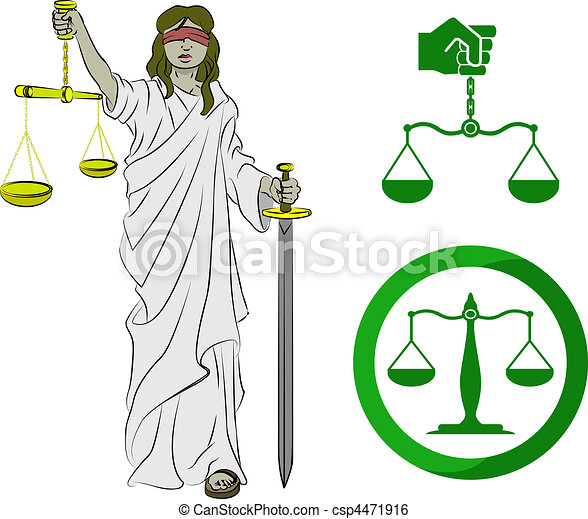 Clip Art Vector of justice - Lady justice, and two sets of scales ...