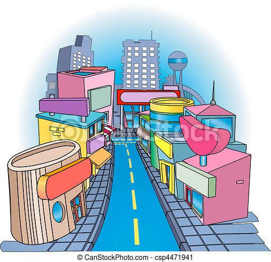 shoppig street  Illustration - csp4471941