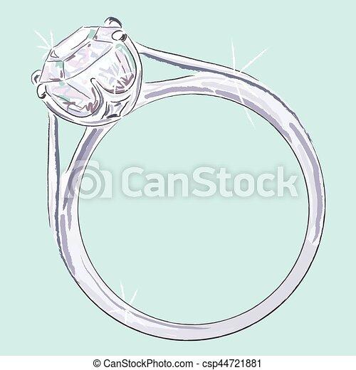Diamantring gezeichnet  Vektor von ring, verlobung - Engagement, ring, gezeichnet, mit ...