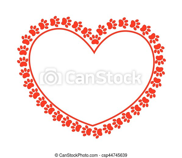 Contour heart surrounded by paw prints of animals. - csp44745639