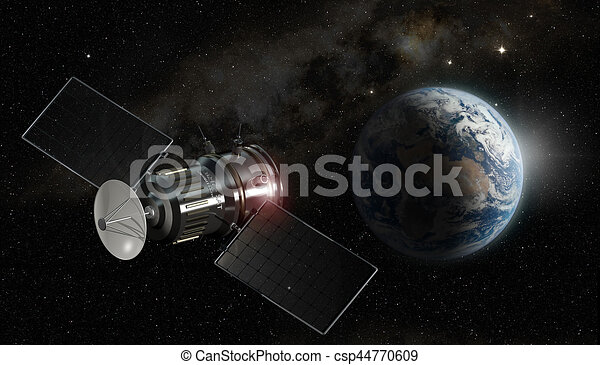 satellite orbiting the earth, 3d illustration - elements of this image furnished by NASA - csp44770609