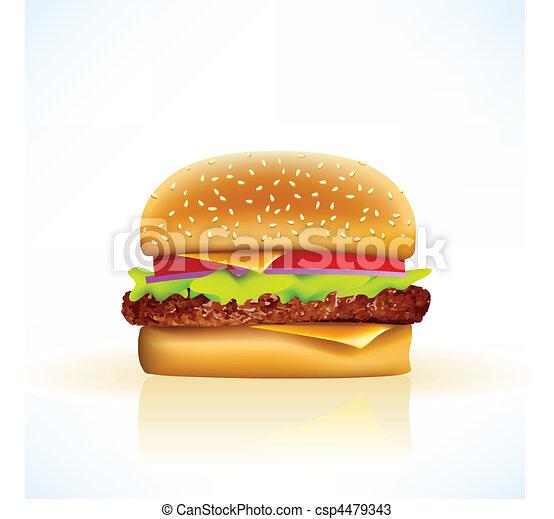 delicious realistic vector cheeseburger - csp4479343