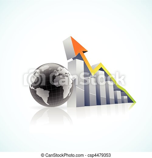 vector 3D global economy bar graph - csp4479353