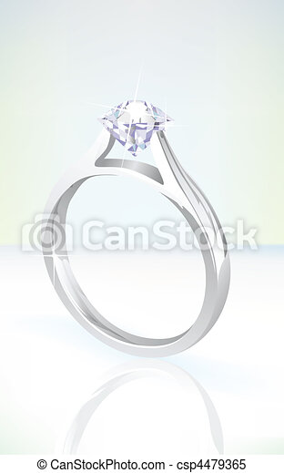brilliant diamond engagement ring in white gold - csp4479365