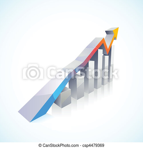 vector 3d Stock Market Bar Graph - csp4479369