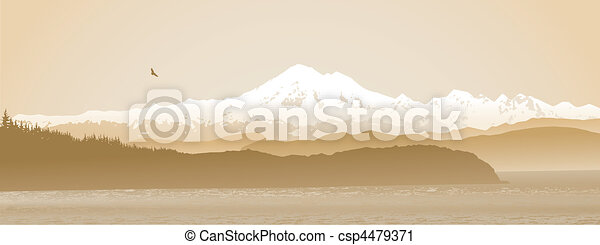 Mount Baker, Washington State panoramic in sepia - csp4479371