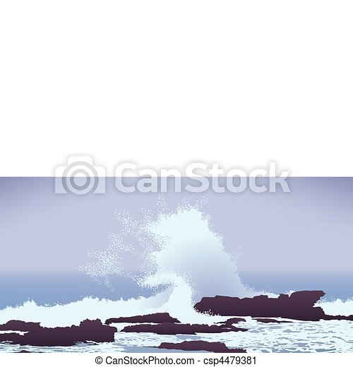 large Pacific Ocean wave crashing into rocks - csp4479381