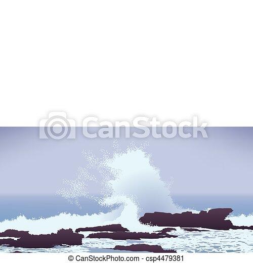 large Pacific Ocean wave crashing into rocks - csp4479381