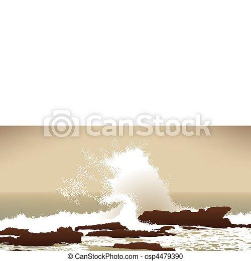 large Pacific Ocean wave crashing into rocks - csp4479390